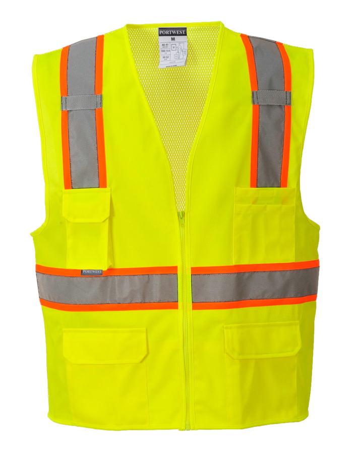orange yellow reflective vest no sleeve front