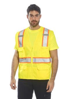in use reflective vest no sleeve orange yellow