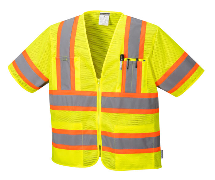 orange yellow stripe reflective vest