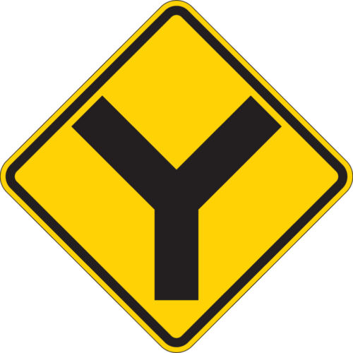 split ahead yellow and black safety sign
