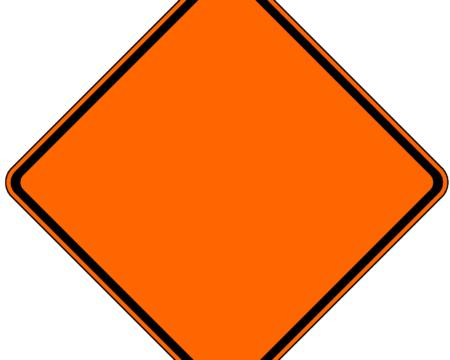 empty orange diamond safety sign