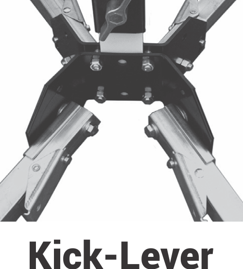 sign stand with kick lever control that are in work zones and hold rigid or roll up construction signs