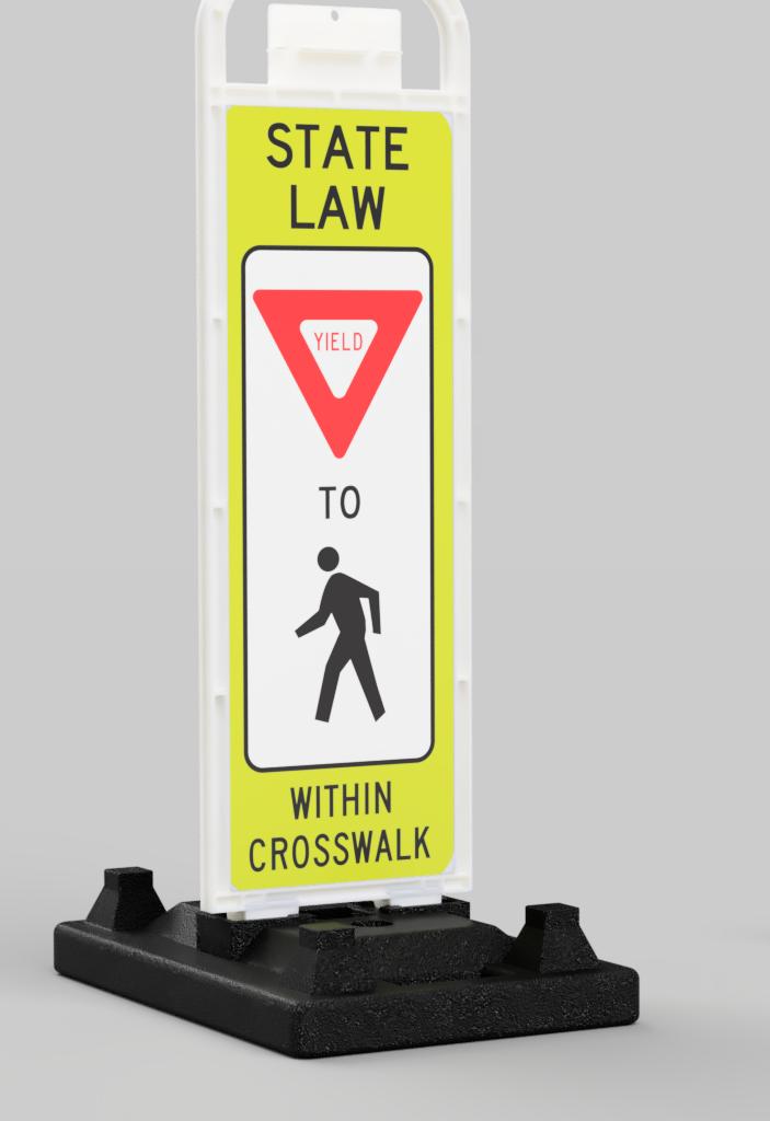 rubber base pedestrian crosswalk yeild sign with man crossing