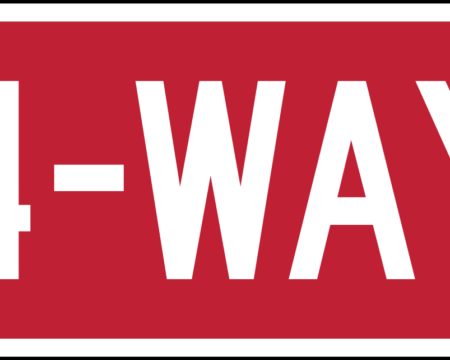 4 way red sign