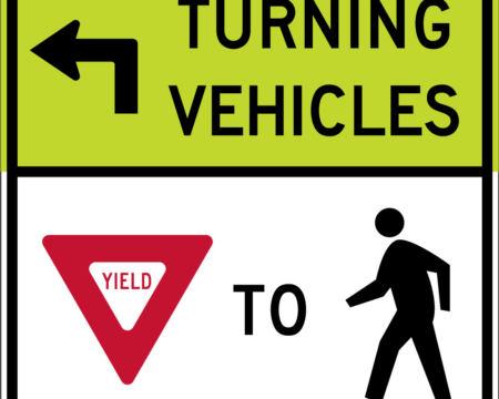 turning vehicles left yield pedestrians white
