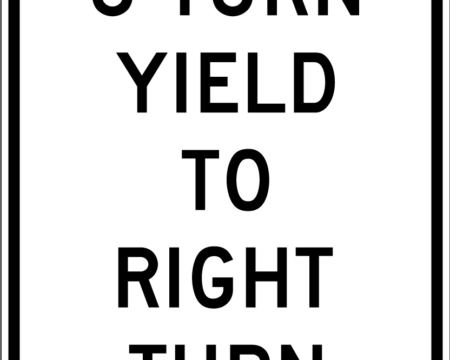 u turn yield to right turn white