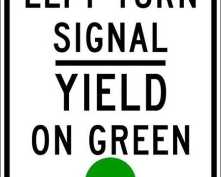 left turn signal yield on green sign