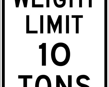 weight limit 10 tons white sign