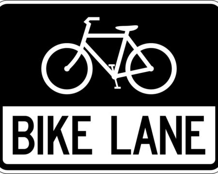 bike lane white sign