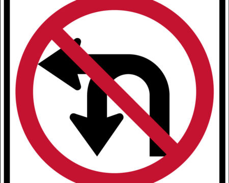 double arrow left red sign