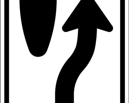 merge right black sign