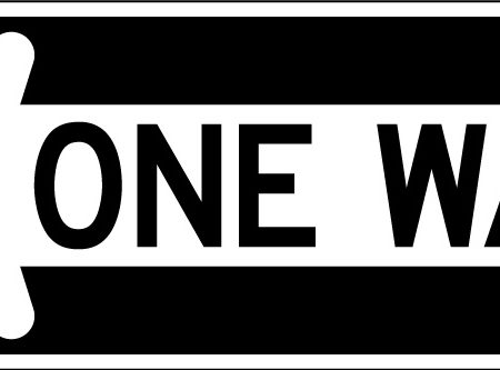 one way left black sign