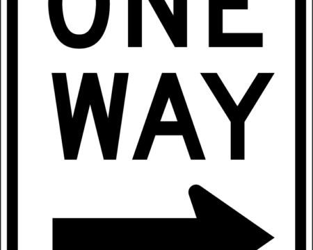 one way right sign arrow