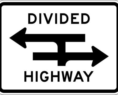 divided highway arrows black sign