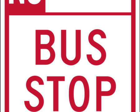 no parking red bus stop right sign