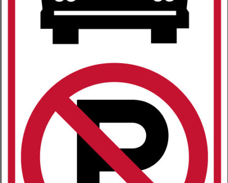 red no parking bus right sign