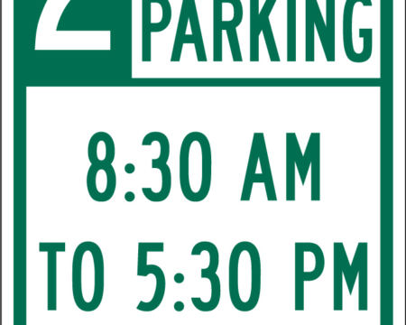 two hour parking time two arrow green sign