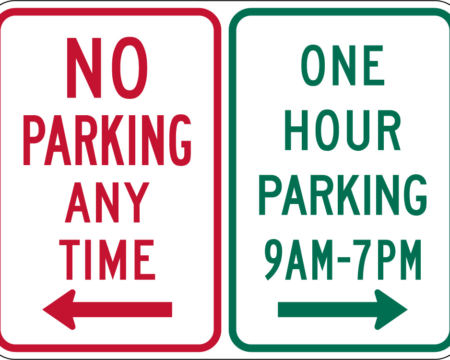 no parking any time left red one hour parking right sign