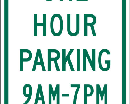 one hour parking time two arrows green white sign