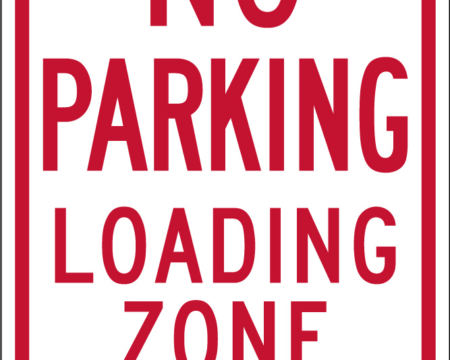 no parking loading zone two end arrow white red sign