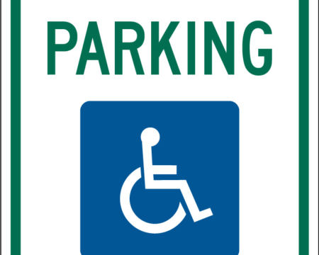 reserved parking green blue sign disability ada