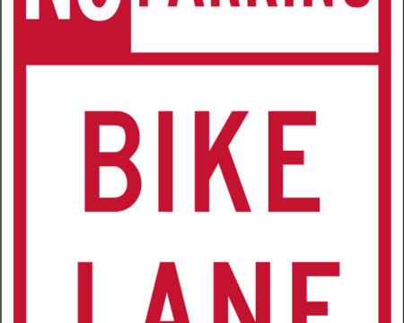 no parking bike lane red and white sign