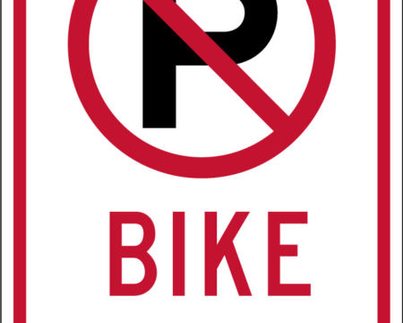 bike lane no parking white and red sign