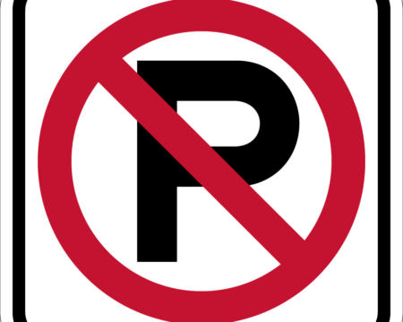 no parking red and white sign