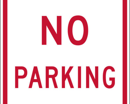 no parking white and red sign