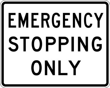 emergency stopping online white sign