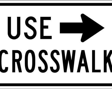 use crosswalk white arrow right sign