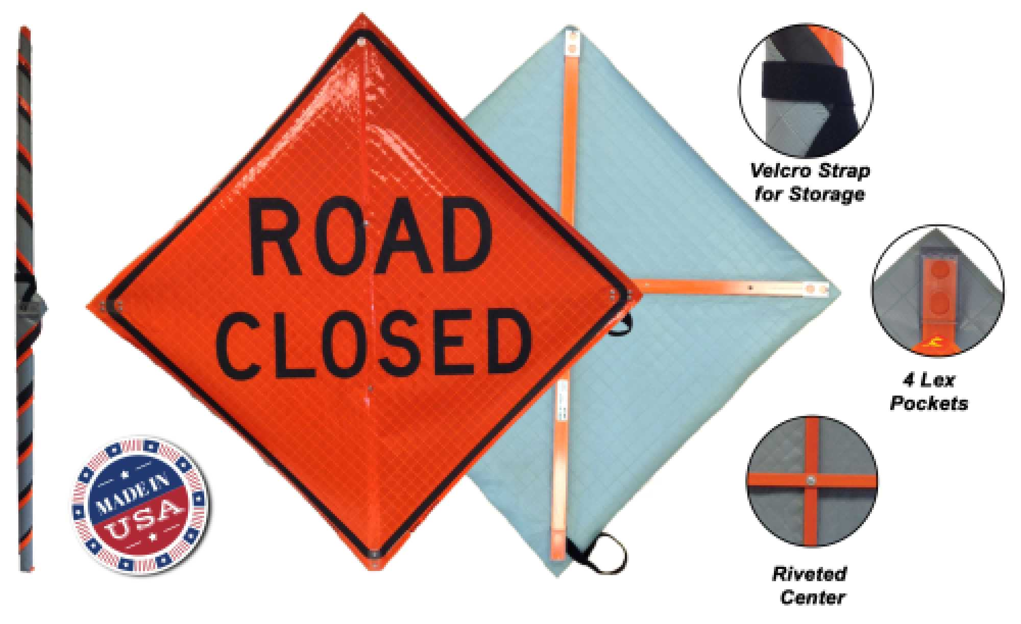 roll up signs for work zones vinyl orange safety sign