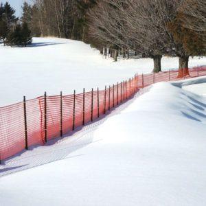 mesh snow fence setup