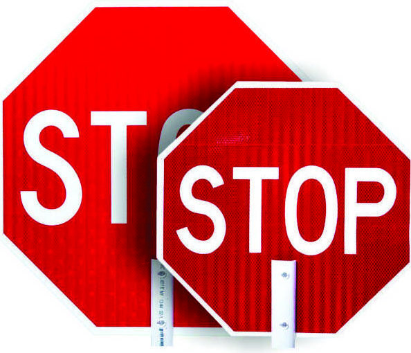 stop sign paddles, paddle signs, flagger signs, work zone staff stop