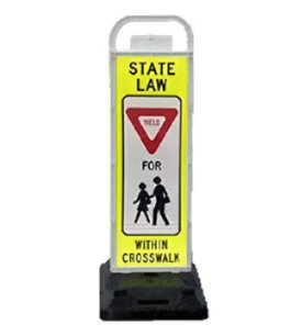pedestrian crosswalk, crosswalk signs, public safety, school crossing, school safety, crossing guard, parking lot sign, parking lot crossing