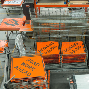 orange safety signs, traffic signs, construction road crew