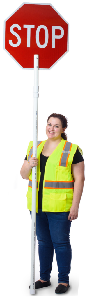 flagger sign, stop pole sign, traffic signs, crossing guards, utilities