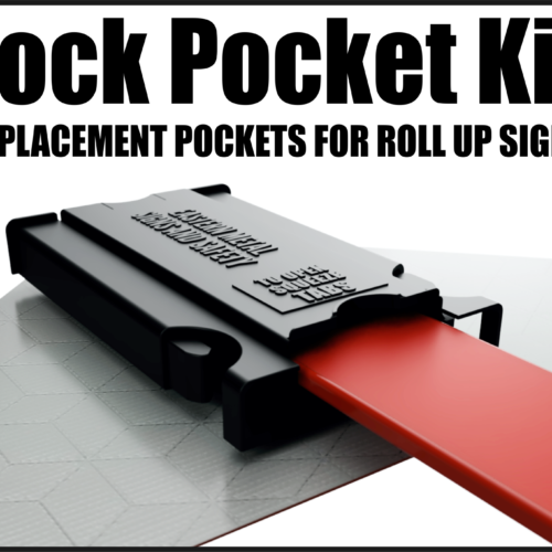 tabs, lock pocket, kit, stand, roll up, signs