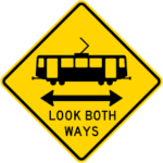 look both ways, sign, yellow, triangle