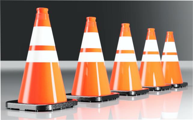 traffic cones, black based cones, large order of cones, quantity of traffic cones, construction cones, municipal cones