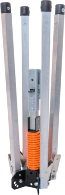compact sign stand with latch bracket for rigid and roll-up signs