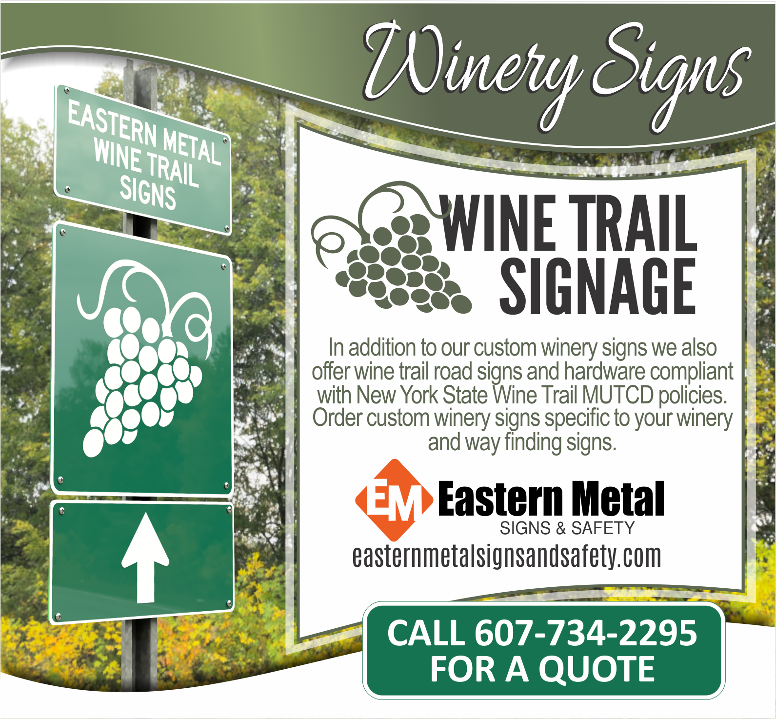 Wine Trail Signs NYS Road Sign for sale